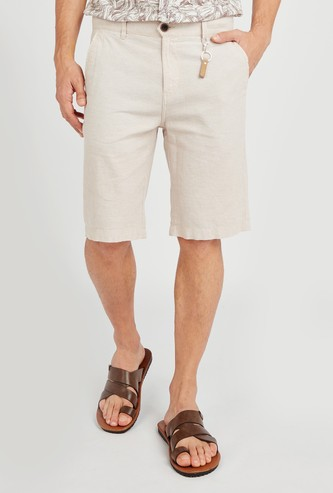 Textured Shorts with Pocket Detail and Belt Loops
