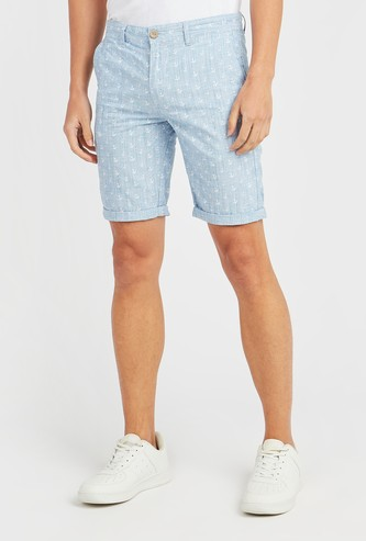 Anchor Print Shorts with Pocket Detail and Belt Loops