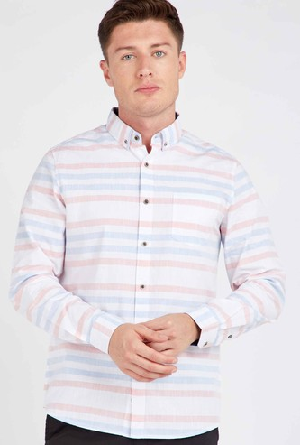 Striped Shirt with Long Sleeves and Chest Pocket