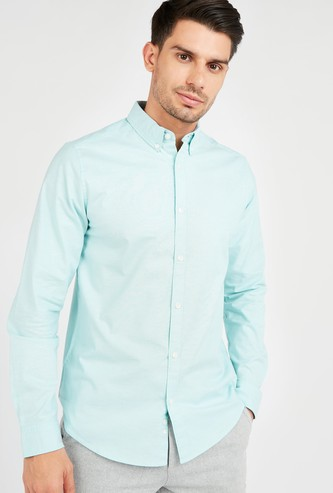 Solid Oxford Shirt with Long Sleeves