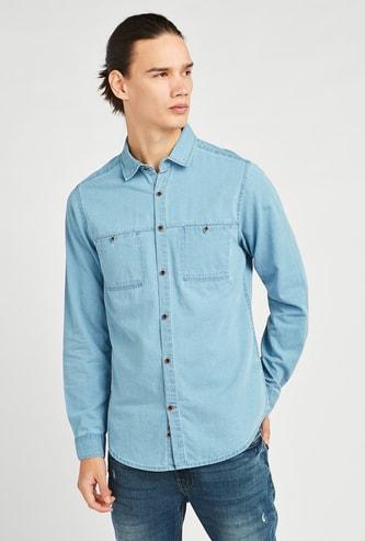 قميص سادة بأكمام طويلة وياقة عادية
