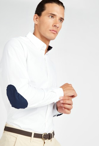 Elbow Patch Oxford Shirt with Spread Collar and Long Sleeves