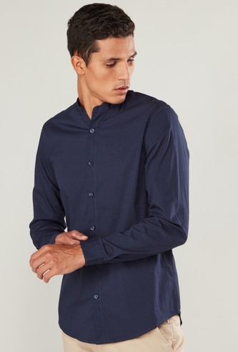 Slim Fit Solid Shirt with Mandarin Collar and Long Sleeves