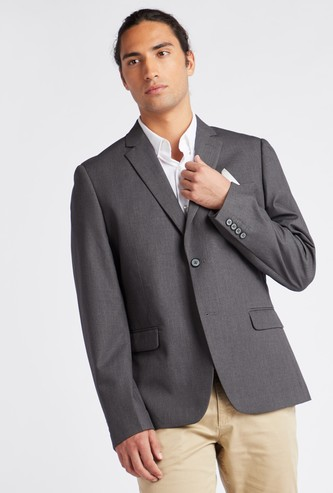 Textured Lapel Collared Suit Blazer with Long Sleeves