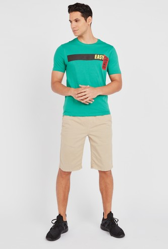 Slim Fit Text Printed Stretch Fabric T-Shirt with Short Sleeves