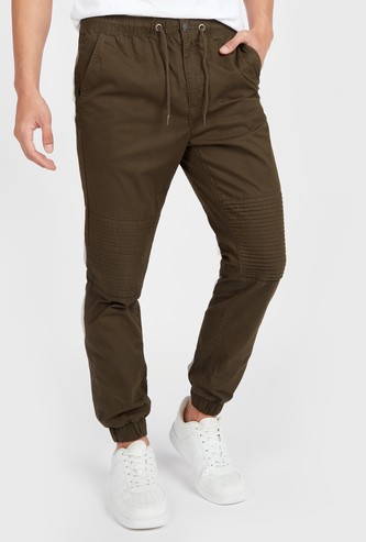 Slim Fit Textured Mid-Rise Jog Pants with Pocket Detail