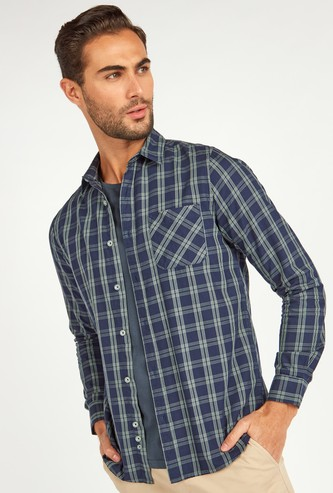 Slim Fit Chequered Shirt with Long Sleeves and Pocket Detail
