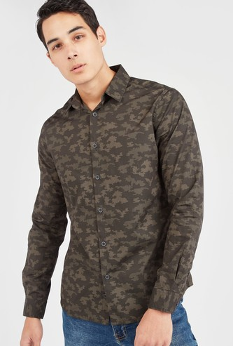 Slim Fit Camouflage Print Shirt with Long Sleeves