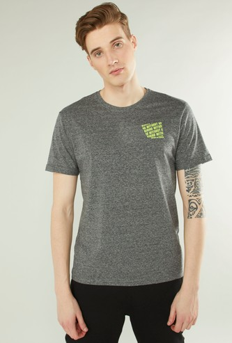 Slim Fit Text Print T-shirt with Short Sleeves