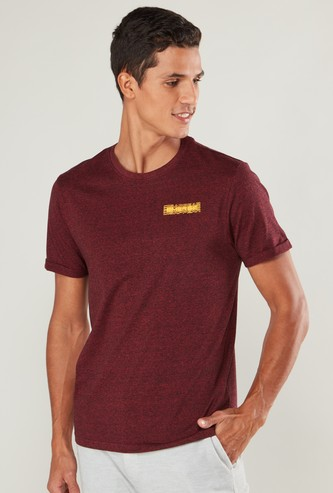 Slim Fit T-shirt with Text Print and Short Sleeves
