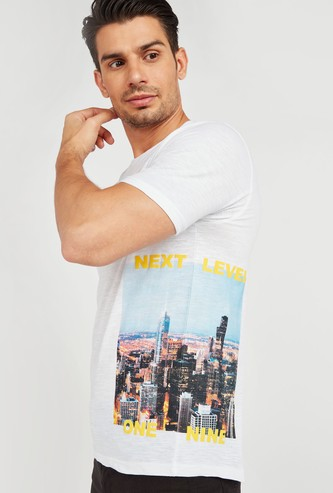 Slim Fit Placement Graphic Print T-shirt with Round Neck