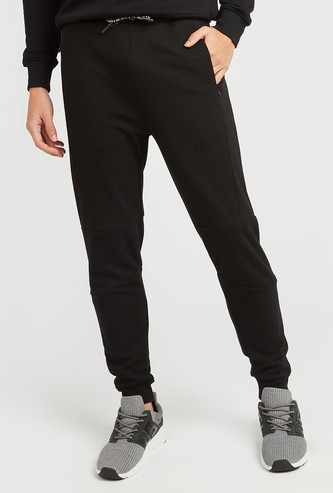 Slim Fit Panelled Mid-Rise Jog Pants with Pocket Detail