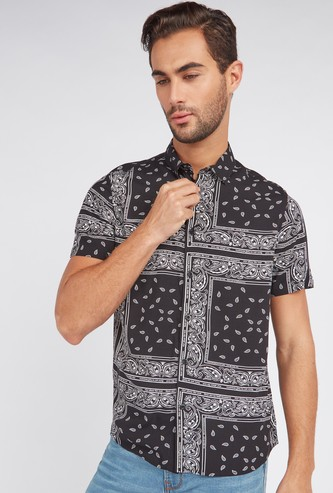 Slim Fit Print Shirt with Short Sleeves