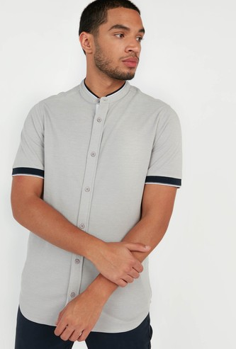 Slim Fit Shirt with Mandarin Collar and Short Sleeves