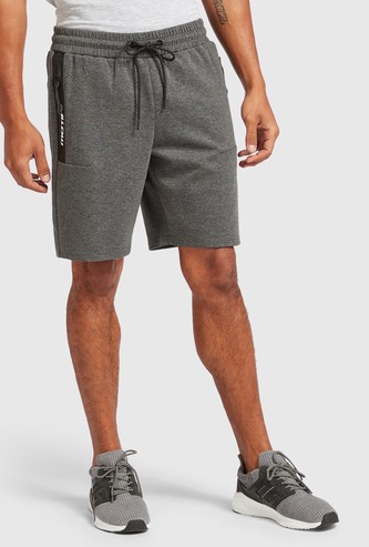 Solid Knee Length Shorts with Drawstring Closure and Pockets