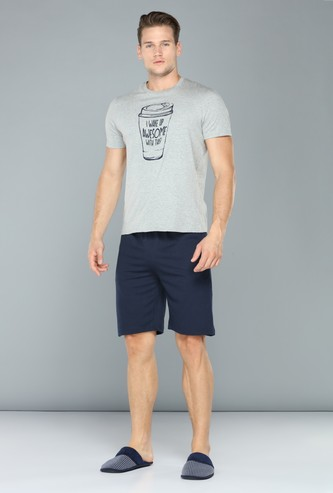 Printed Round Neck T-Shirt with Shorts