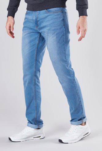 Skinny Fit Solid Jeans with Button Closure