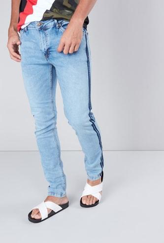 Slim Fit Mid-Rise 5-Pocket Full Length Jeans