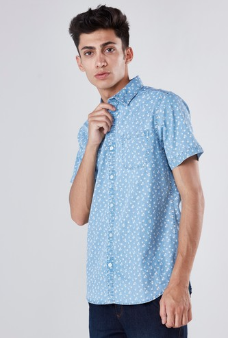 Micro Printed Collared Shirt with Short Sleeves and Curved Hem