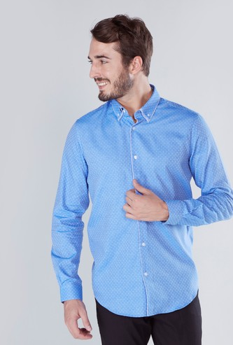 Printed Shirt in Slim-Fit with Long Sleeves