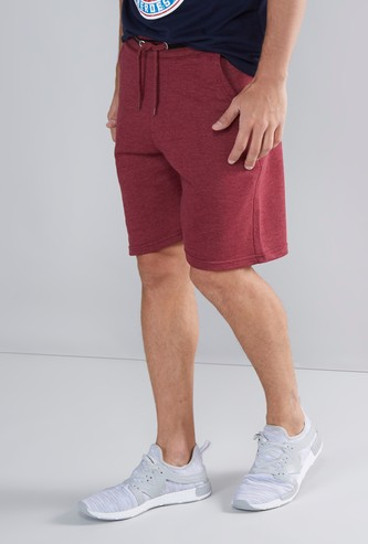 Solid Shorts with Striped Waistband and Drawstring Closure