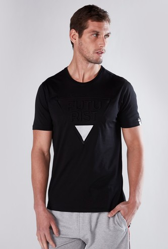 Embossed T-shirt with Round Neck