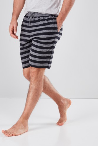 Striped Lounge Shorts with Pocket Detail and Drawstring Waistband