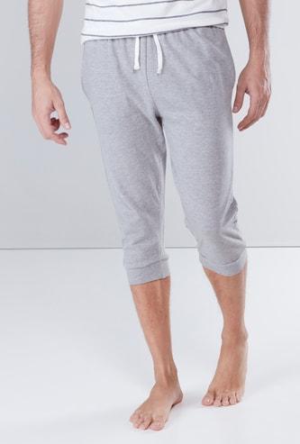 Melange Pocket Detail 3/4 Shorts with Drawstring Waistband