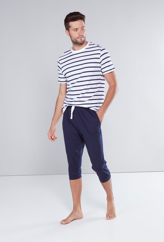 Striped Round Neck T-shirt with Pocket Detail Capris