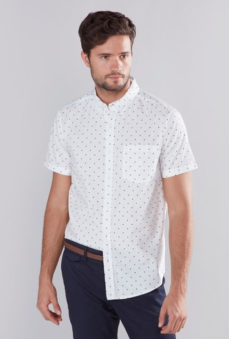 Printed Shirt with Short Sleeves and Patch Pocket