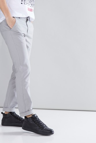 Solid Chinos with Pocket Detail and Button Closure
