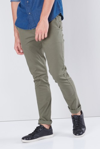 Solid Chinos with Pocket Detail in Skinny Fit