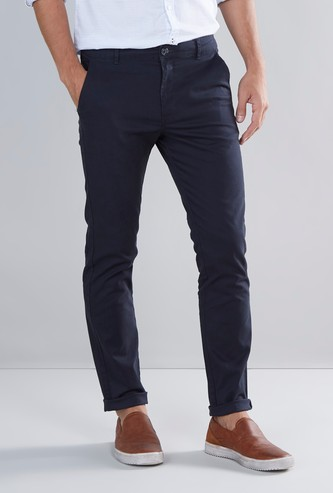 Slim Fit Solid Chinos with Button Closure