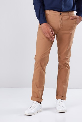 Full Length Chinos in Slim Fit with Zip Fly and Pocket Detail