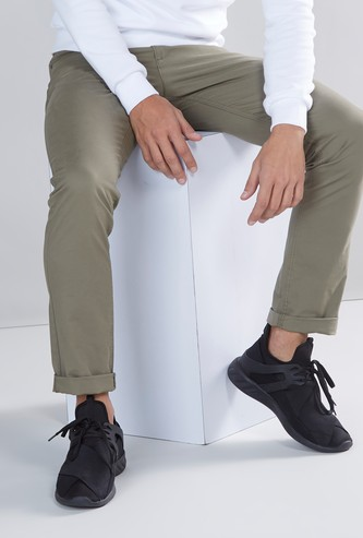 Skinny Fit Plain Trousers with Pocket Detail and Button Closure