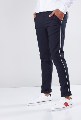 Tape and Pocket Detail Full Length Chinos in Slim Fit