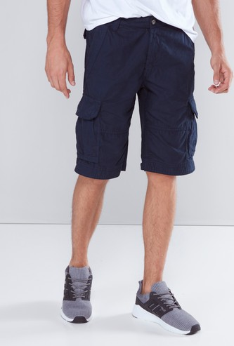 Solid Cargo Shorts with Pocket Detail and Belt Loops