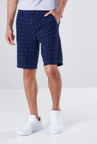 Indigo Dobby Printed Shorts with Button Closure and 3-Pocket