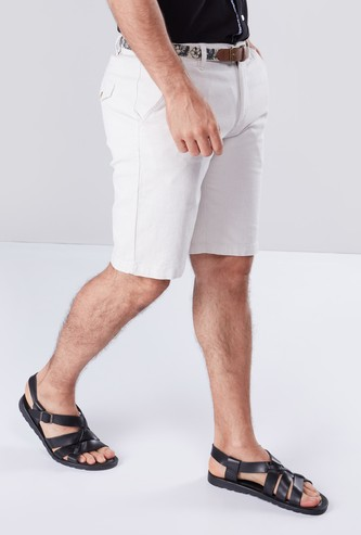 Textured Shorts with Pocket Detail and Button Closure