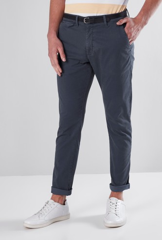 Full Length Solid Trousers with Pocket Detail
