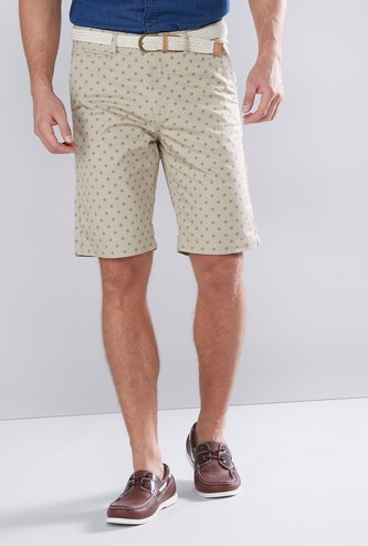Slim Fit Printed Shorts with Pocket Detail and Belt