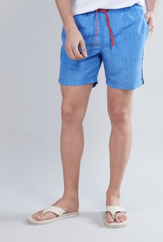 Comfort Fit Textured Shorts with Pocket Detail and Drawstring Closure