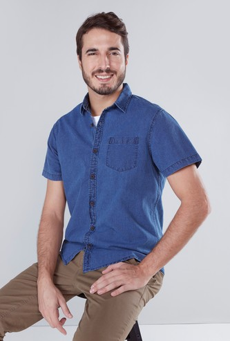 Solid Shirt with Short Sleeves and Chest Pocket Detail