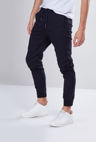 Skinny Fit Mid-Rise Cuffed Joggers with Drawstring Closure