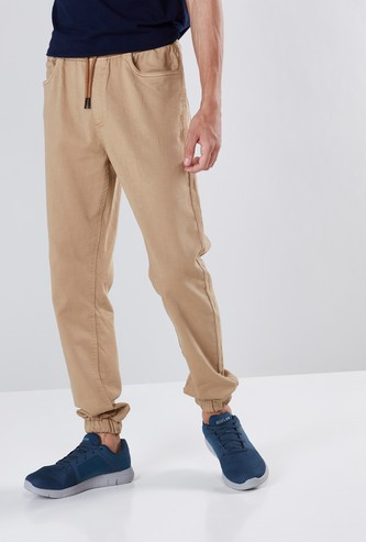 Solid Slim Fit Cuffed Joggers with Drawstring Closure