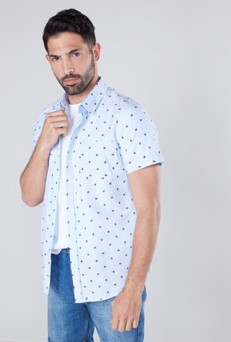 Slim Fit Printed Casual Shirt with Short Sleeves