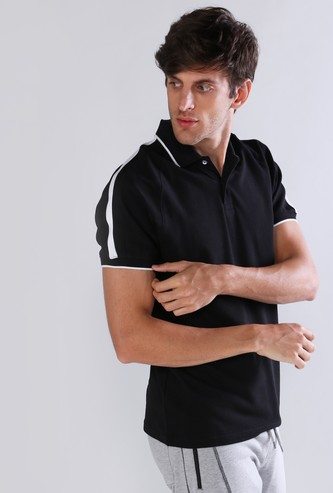 Tape Detail T-Shirt with Polo Neck and Short Sleeves