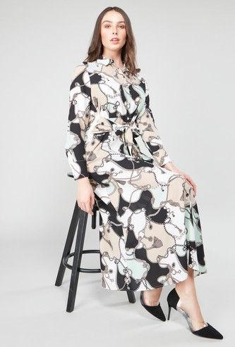 Printed Shirt Dress with Long Sleeves and Tie Ups