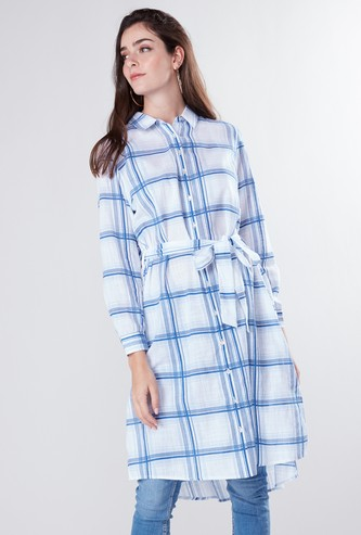 Chequered Shirt Tunic with Complete Placket and Tie Up Belt