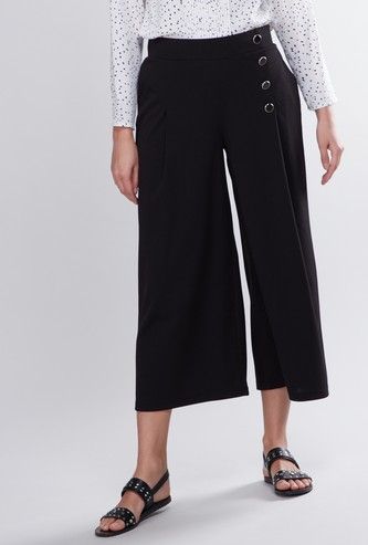 Plain Culottes with Button Detail